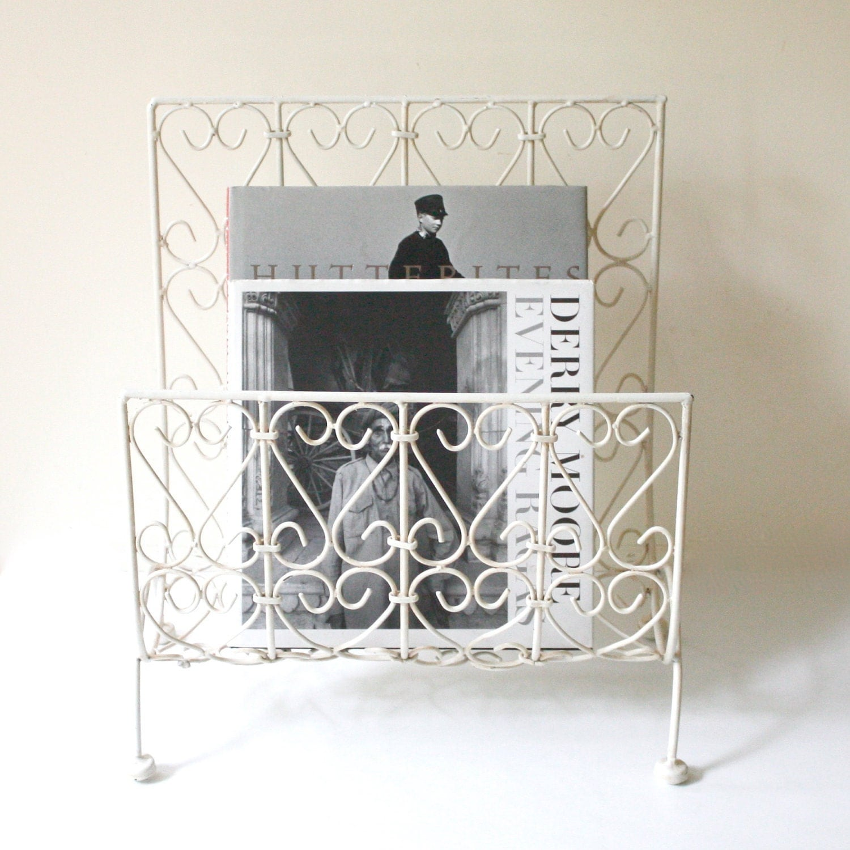 vintage white metal magazine holder. Black Bedroom Furniture Sets. Home Design Ideas