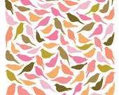 8x10 Pink Birds Pattern Print