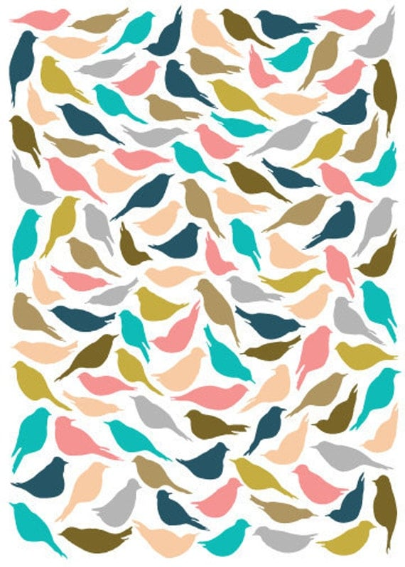 Items similar to 8x10 Multicolored Bird Pattern Print on Etsy