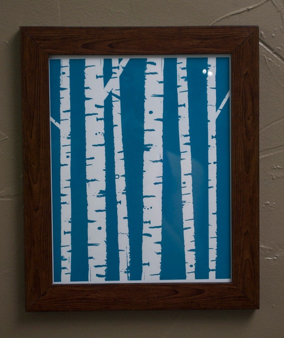 Birch Trees 8x10 ScreenPrint- Limited Edition in Blue and Brown