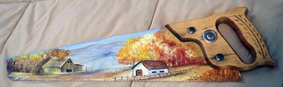 "Old Barn and Outbuilding, Fall Country Scene, Acrylic on 17.5"" Saw"