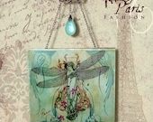 Damselfly Glass Wall Hanging - Vintage Paris Fashion  - Nouveau Metamorphosis 2 - Damselfly
