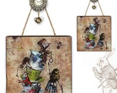 Alice's Mad, Mad Tea Party Glass Wall Decor- Original Handmade StoryBook Edition - Alice in Wonderland