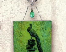 Peacock Glass Wall Hanging - Vintage Paris Fashion Collection Wall Pendant - Proud as a Peacock