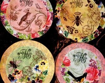 Victorian Custom Initial Coaster Set - Round Glass Bevel Coasters - Birds and the Bees