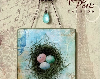 The NEST Wall Hanging - Vintage Paris Fashion Collection  - Glass Wall Pendant