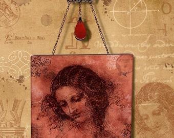 Art Masters Sketchbook Series- Glass Wall Pendant - Da Vinci in Red