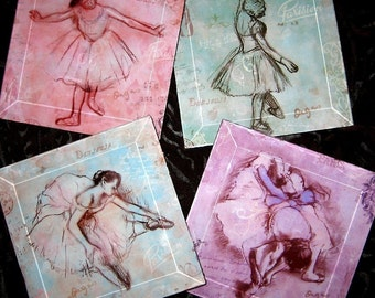 Ballerina Coasters -  Glass Beveled Coaster Set  Vintage Paris  Collection - Pastel Degas Ballerinas
