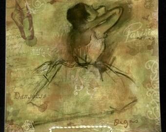 "Degas Ballet Sketch Decoupage Glass Plate - 7, 8, 9, or 10"" Art Masters Sketchbook Series- Degas Sage Green"