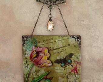 Sage Carte Postale Wall Hanging - Handmade Decoupage Glass Wall Pendant - Carte Postale No. 1