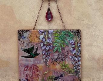 Carte Postale No. 2 Wall Hanging - Vintage Paris Fashion Glass Wall Pendant