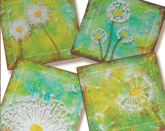 Dandelion Coasters -  Geoforms Handmade Decoupage Glass Beveled Coaster Set - The Four Wishes