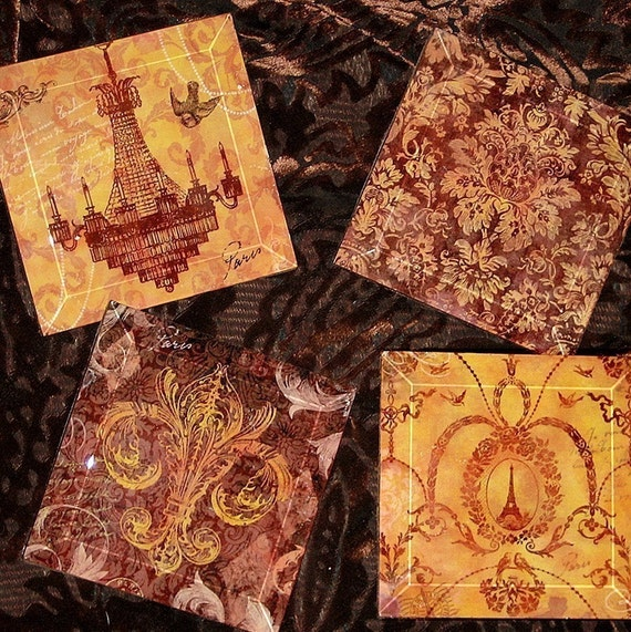 French Elegance Handmade Decoupage Glass Beveled Coaster Set of 8 - Vintage Paris Fashion Collection - Birds of a Feather Gold