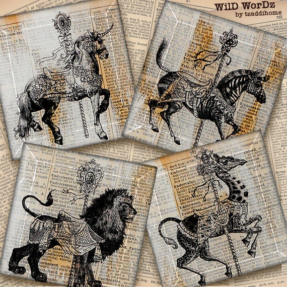 Carousel Animal Coasters from Upcycled Dictionary page book art -WilD WorDz- Handmade Glass Coaster Set  CaRouSeL No. 1