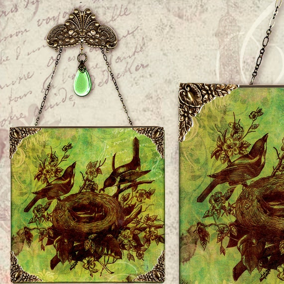 Nesting Birds Wall Pendant - Vintage Paris Fashion- Lemongrass Birds of a Feather