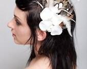 White Silk Orchid Fascinator Head Piece by Bird Crap Featherwear