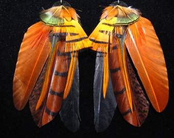 Rising Phoenix Nomad Feather Earrings by Bird Crap Featherwear
