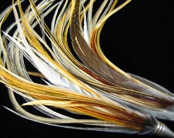 Snow Streamer Feather Earrings by Bird Crap Featherwear