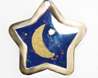 Magic MOON and STARS Dog Cat Pet Id TAG - Key Chain Keychain Free Engraving