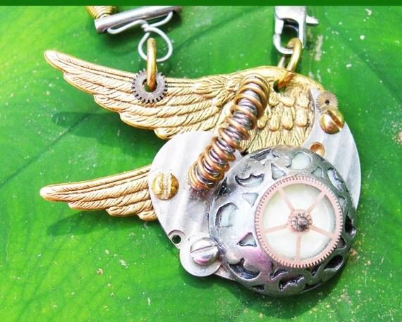 Sale STEAMPUNK GLOWING PEGASUS Necklace Sci Fi Pendant Jewellery Jewelry
