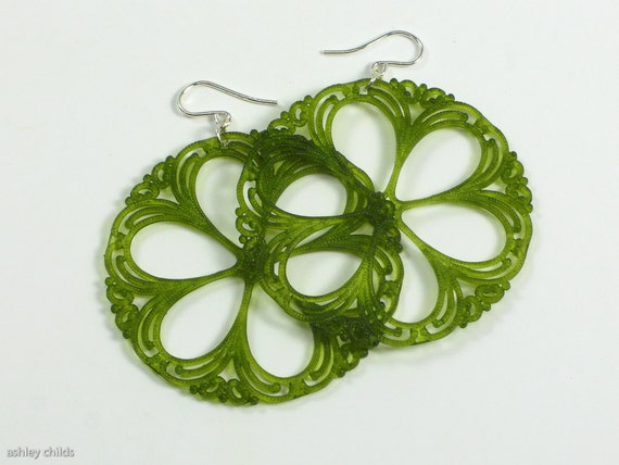 Mossy Green, Floral Filigree Vintage Lucite Earrings, Argentium Silver (.945), AC1434