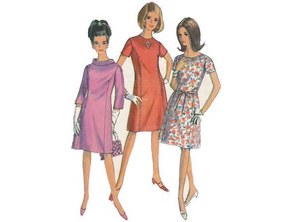 LAST CHANCE Accessorize Me - Vintage 1960s Mod A-Line Sheath 3 Style Option Dress Sewing Pattern by Simplicity