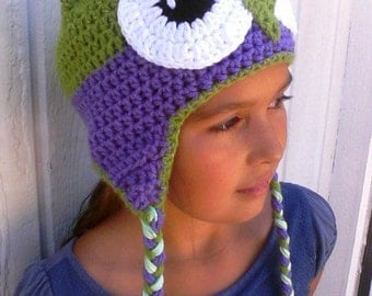 Adult Size Lime Green and Purple Owl Hat