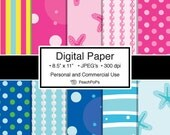 digital paper - Pretty n Pink Mermaid Princesses - 10 Digital Papers - 8.5 x 11 JPEG