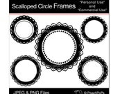 Set of 5 Scalloped Circle Frames - Digital Clip Art