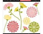 flowers clip art digital clip art modern blooms blossoms - Enchanting Floral Affair - Digital Clip Art