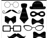 clipart digital clip art mustache silly silhouettes hat bow tie - Dastardly Disguises - Digital Clip Art