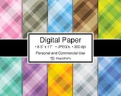 digital paper pack plaid - Posh Plaids - 10 Digital Papers - 8.5 x 11 JPEG