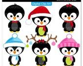 Buy 2 Get 1 Free SALE - cute penguin clip art digital clipart animal holiday polka dots - Wee  Lil Penguins - Digital Clip Art