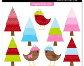 clip art digital clipart red pink blue birds chic - Mod Christmas Trees and Twees - Digital Clip Art