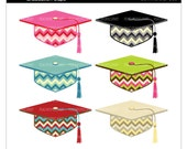 grad clipart digital clip art school college - Retro Chic Chevron Graduation Caps - Digital Clip Art