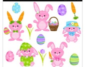 Buy 2 Get 1 Free SALE - cute Easter bunny clip art digital clipart rabbit egg pink - Lil Hoppy Easter Bunnies - Digital Clip Art
