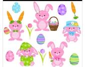 Buy 2 Get 1 Free SALE - cute Easter bunny clip art digital clipart rabbit egg pink - Lil Hoppy Easter Bunnies - Digital Clip Art