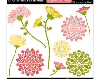 flowers clip art digital clip art modern blooms blossoms - Enchanting Floral Affair - Digital Clip Art