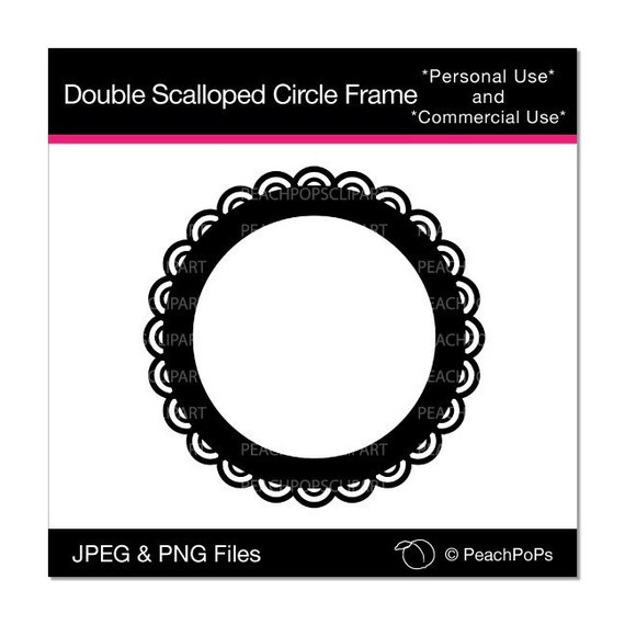 Double Scalloped Circle Frame - digital  clip art - frame, scallop, circle, border - Personal and Commercial Use