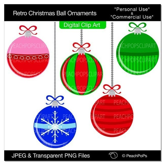 Retro Christmas Ball Ornaments - digital clip art set - ORIGINAL design elements - holiday, Christmas, balls, vintage style, pink, red, blue, green, stripes, snowflake - Personal and Commercial Use Clip Art