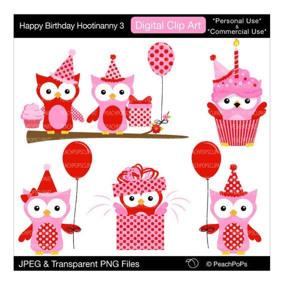 Buy 2 Get 1 Free SALE - Owl clip art birthday digital ...