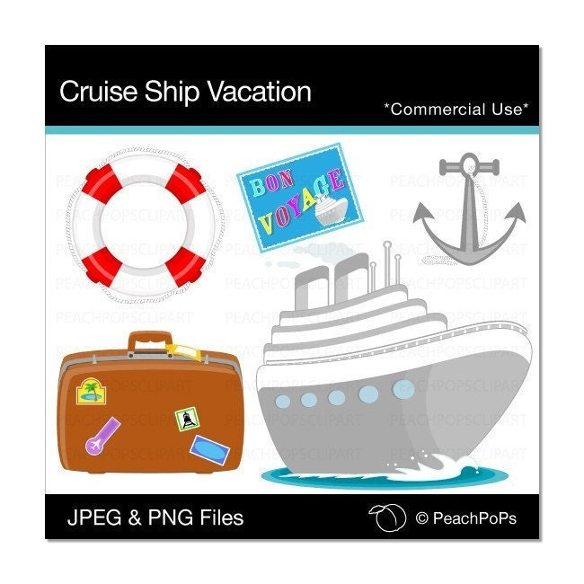 digital clip art clipart Cruise Ship Vacation by peachpopsclipart