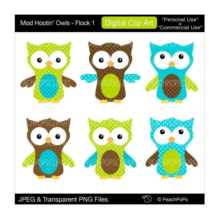 cute owl clip art digital clipart green teal by ...