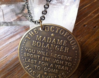 The Octoroon Mademe Bolanger Brass Brothel Whorehouse Token Necklace