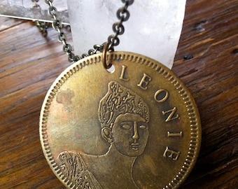 "Leonie ""Lady of the Evening"" Portrait Brass Brothel Token Necklace, Burlesque Jewelry"