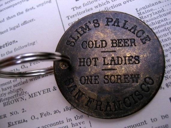Brass Slim's Palace Key Ring, Wild West Key Chain Whorehouse Bordello Token Key Chain San Francisco