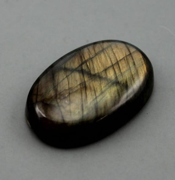 Deep golden Salmon Oval  Shimmer Labradorite Cabochon