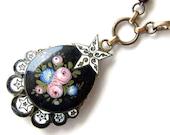 RESERVED FOR SYLVIANE - Gather Ye Rosebuds - necklace - antique vintage assemblage