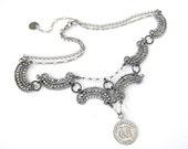 antique cut steel love token necklace 'Victoria, Because'