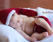 Crochet Baby Christmas Elf Hat and Diaper Cover, Red and White, Matching Set